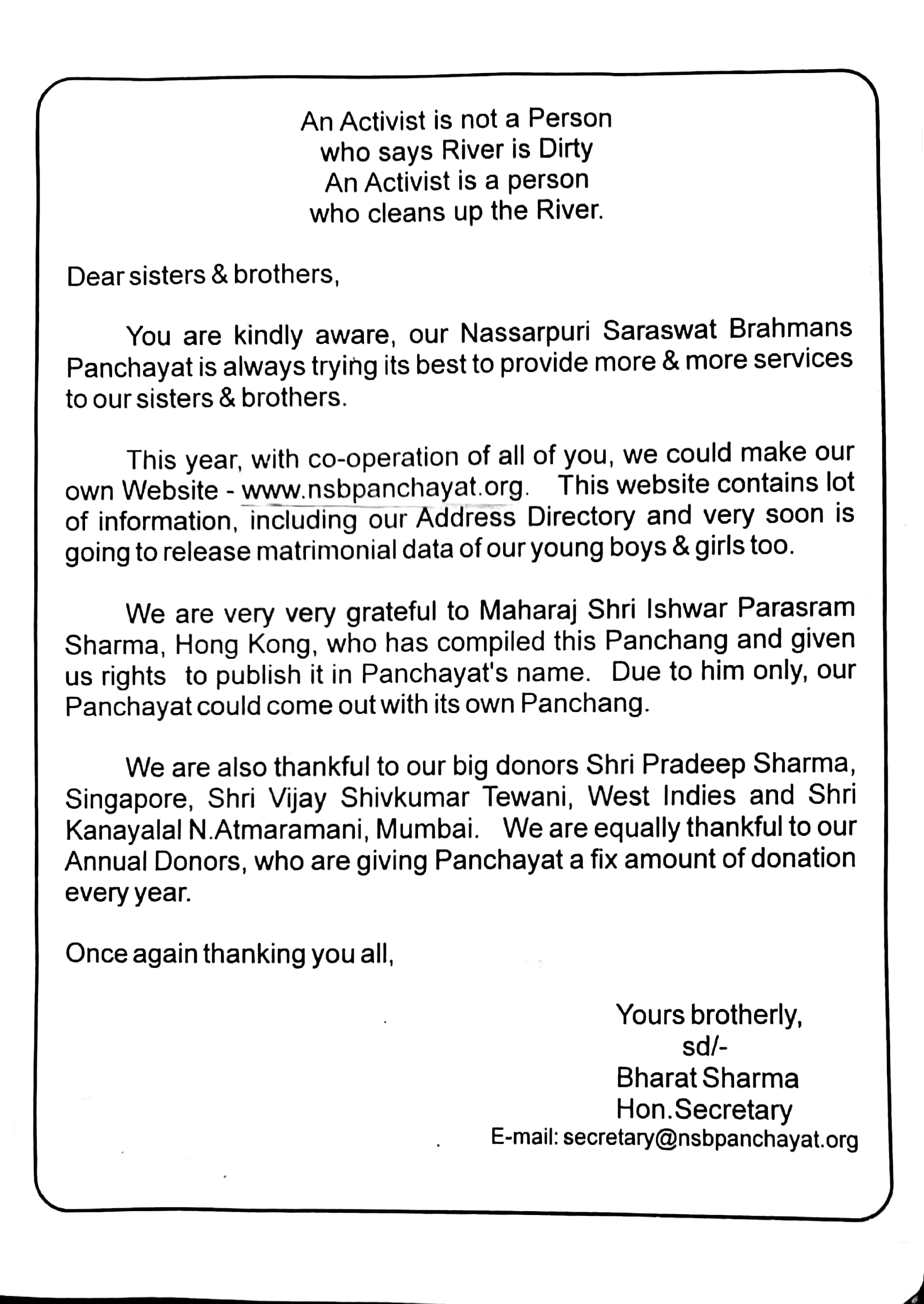 Letter's of appreciation and thanks to Ishwar Maharaj, Hong